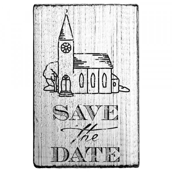 """Vintage Stempel """"Save the date"""" Kirche"""