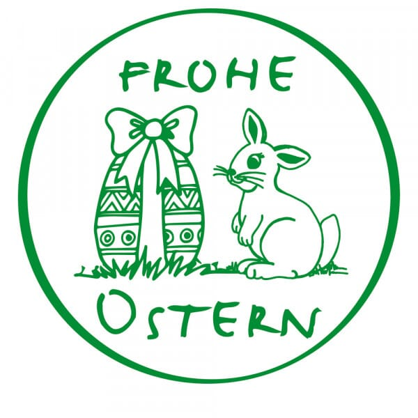 Ostern Holzstempel - Hase Frohe Ostern (Ø 40 mm)