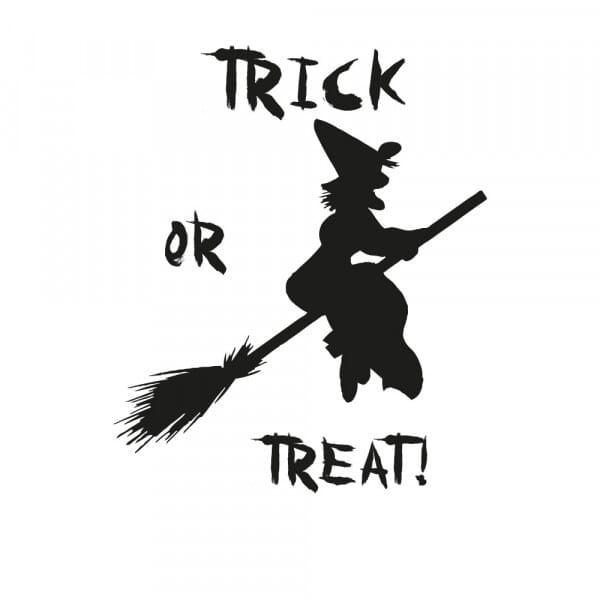 Halloween Holzstempel - Hexe Trick or Treat (40x30 mm)